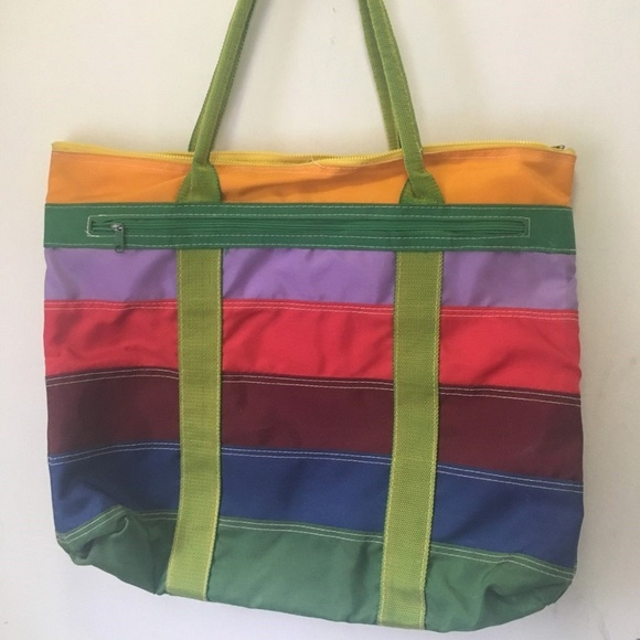 bc5348cfd98 Lady's Pride Bags | Rainbow Striped Tote Beach Bag Double Handle Zip ...